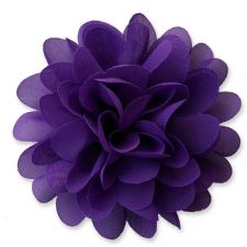 10cm Pompom Bloom DARK PURPLE Fabric Flower Applique